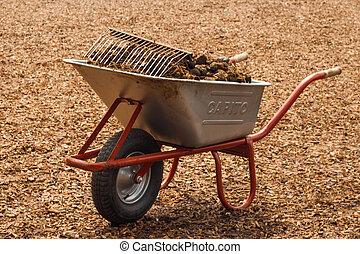 a wheelbarrow full of horse shit