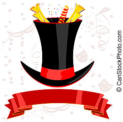 top magic hat and ribbon - magic top-hat, red ribbon and...