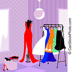 fitting room - in the abstract store dressing room with...