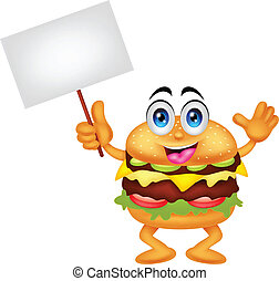 burger cartoon characters with blan - vector illustration of...