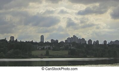 Deer Lake in Burnaby BC Canada with Closeup City Skyline...
