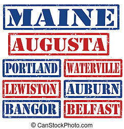 Maine Cities stamps - Set of Maine cities stamps on white...