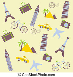 travel seamless background with taxi, plane, tower, palm...