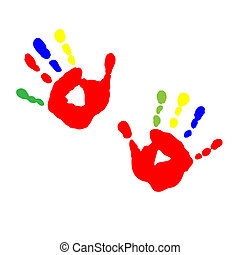 Prints of children's hands from paint - The prints of...