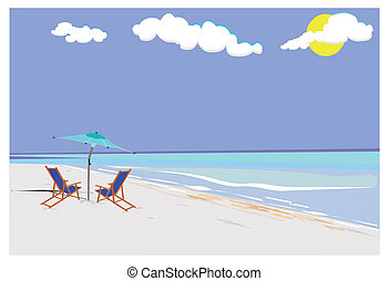 vacation concept - beach with canvas chairs and umbrella in...