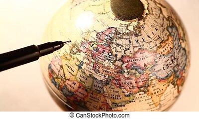 Old globe - Old miniature globe rotating