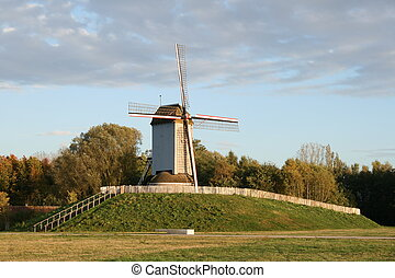 Old windmill in flanders fields. - Still working wooden...