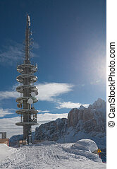 Communication tower with antennas. Selva di Val Gardena, Italy