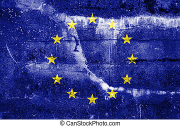 European Union Flag painted on grunge wall
