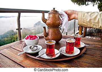 Drinking Traditional Turkish Tea With Friends - Drinking...