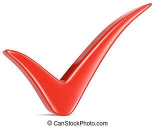 vermelho, cheque, marca