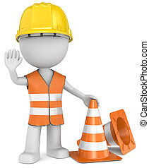Stop - The Dude gesturing stop with hand Hardhat and...