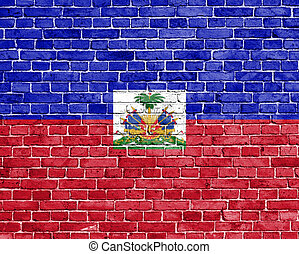 Grunge Haiti flag on brick wall