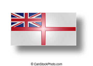 Flag of the United Kingdom White Ensign Stylized I - Naval...