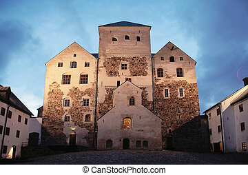 The Turku Castle - Old castle by night in Turku, Finland...
