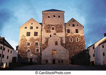The Turku Castle - Old castle by night in Turku, Finland....
