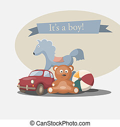 "It's a boy - Vector retro greeting card ""It's a boy"""