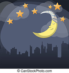 Good night - Vector night scene with moon and stars