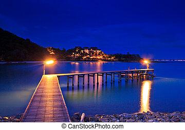 Arborizado, ponte, porto, crepúsculo, luz