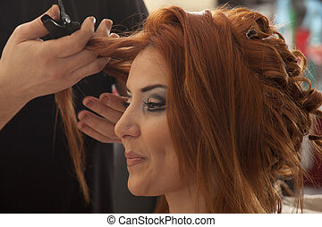 bride hair - Beautiful caucasian bride getting ready for the...