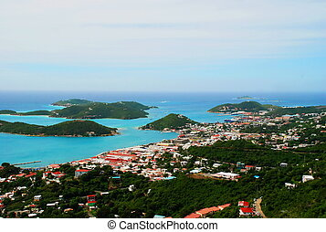 St. Thomas, USVI Downtown View - Overlooking the sparking...