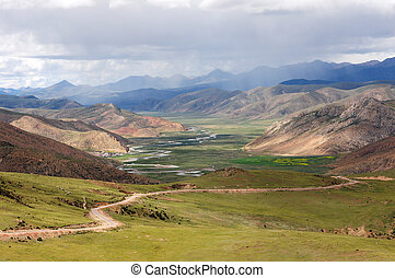 Landscape of mountains in Tibet in the summer