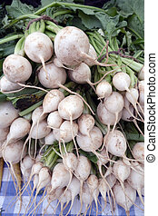 Japanese turnips on sale at a farmers market