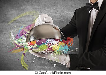 Creative First Class Service - Concept of colorful Creative...