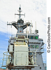 View of the radar tower on the modern warship