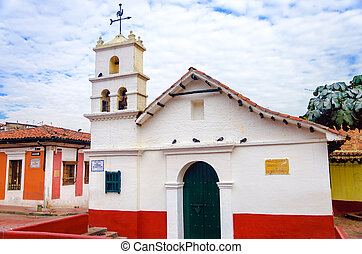 Historic Chapel in Bogota - Old white historic church in La...