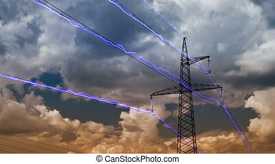 Electricity pylon on blue sky background. (DSLR, Raw quality...