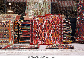 Carpets and window of shop in Istanbul, Turkey...