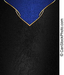 Black texture with blue triangle and gold trim. Template for...