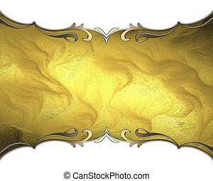 gold plate with patterned edges on isolated white background
