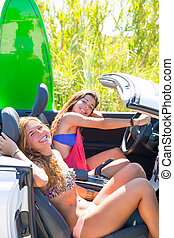 Happy crazy teen surfer girls smiling on car - Happy crazy...