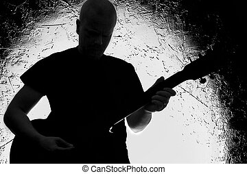 Guitar Player - Guitar player on stage Silhouette Lighted...