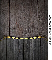 Wooden background, with name board with gold trim