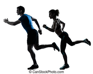 man woman runner running jogging sprinting - one caucasian...