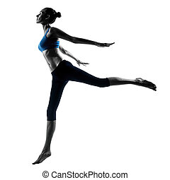 woman exercising jumping stretching dancing - one caucasian...