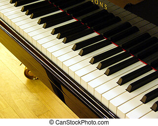 piano, teclado, -, negro, blanco