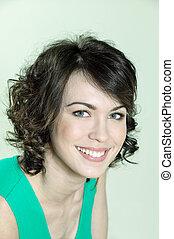 cute brunette young woman portrait - studio shots portrait...
