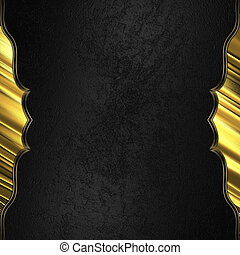 Black background with gold edged with gold trim. Design...