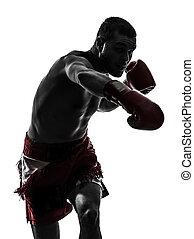 um, homem, exercitar, Tailandês, boxe, silueta