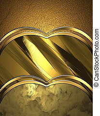Three Abstract gold background with gold trim