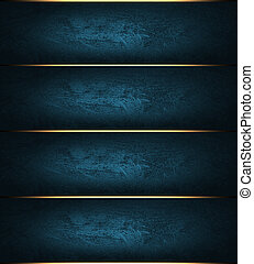 Abstract blue striped background with gold trim - Template...
