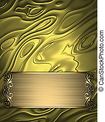 Abstract gold background with a plate with golden trim....