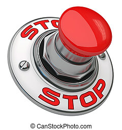 Stop Button - Button rugged metal screwed on white...