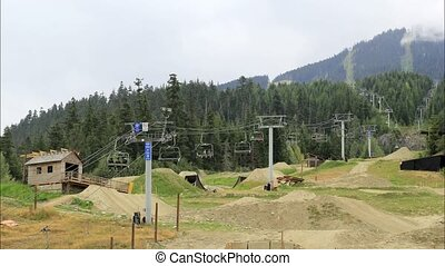 Mountain Bikers in Whistlers BC Canada with Gondola Ski...
