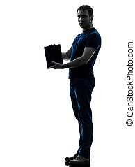 man holding showing digital tablet  silhouette