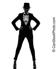 woman master of ceremonies presenter silhouette - one...